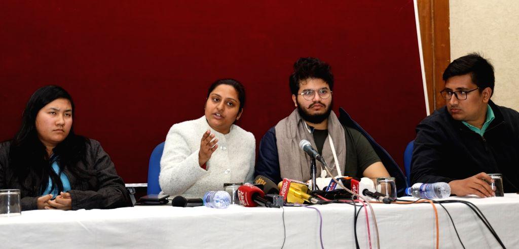 ABVP National General Secretary Nidhi Tripathi accompanied by JNU unit secretary Manish Jangid and student Valentina Brahma, addresses a press conference on JNU violence, in New Delhi on ...