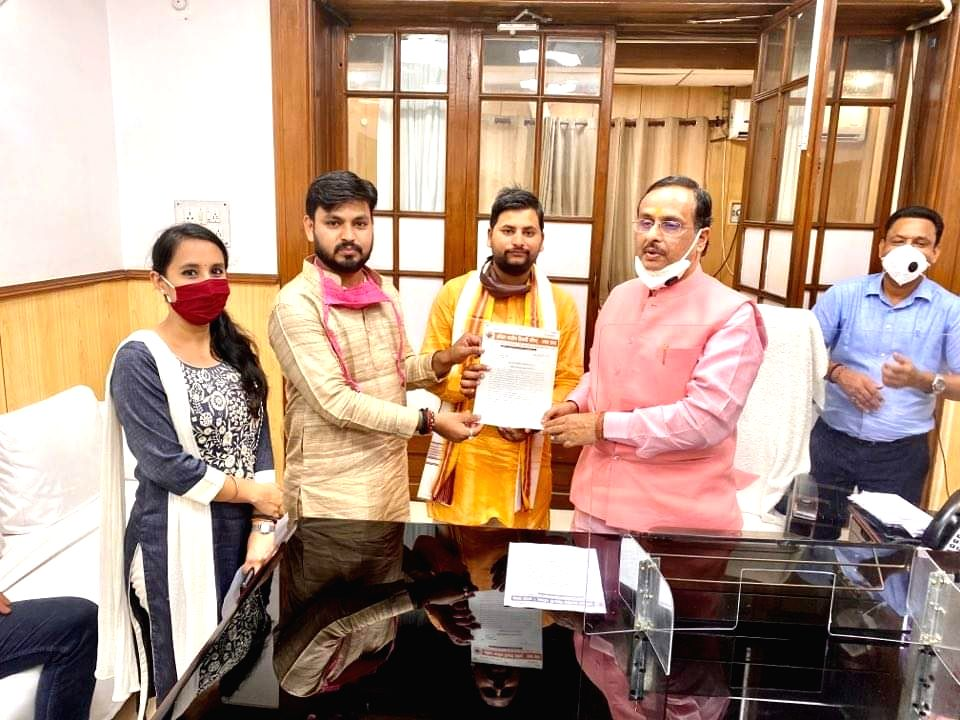 ABVP workers meet Uttar Pradesh Deputy Chief Minister Dinesh Sharma with suggestions related to examinations, in Lucknow on June 24, 2020. - Dinesh Sharma