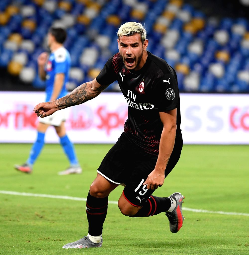 AC Milan's Theo Hernandez celebrates during a Serie A football match between Napoli and AC Milan in Naples, Italy, July 12, 2020.