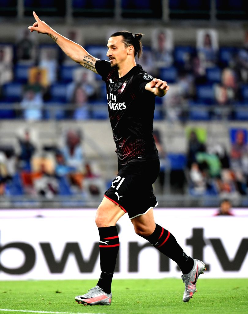 AC Milan's Zlatan Ibrahimovic celebrates his goal during a Serie A football match between Lazio and AC Milan in Rome, Italy, July 4, 2020.