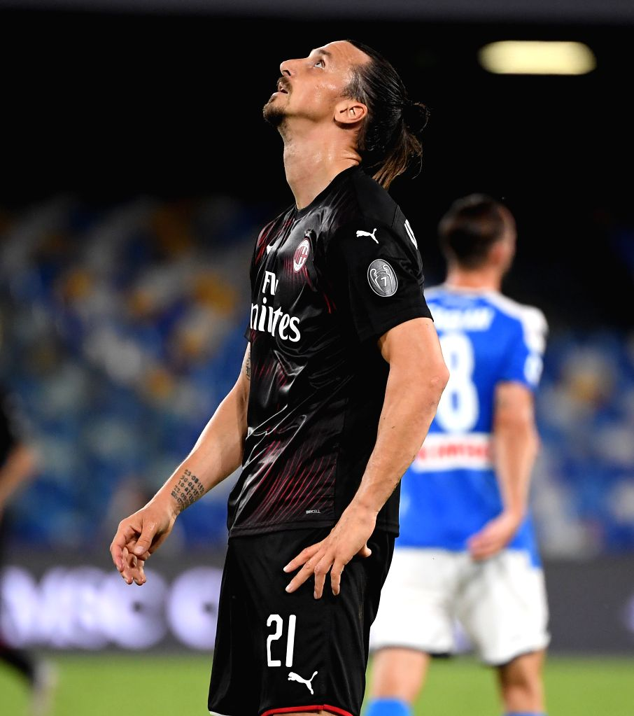 AC Milan's Zlatan Ibrahimovic reacts during a Serie A football match between Napoli and AC Milan in Naples, Italy, July 12, 2020.