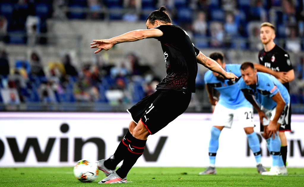 AC Milan's Zlatan Ibrahimovic takes a penalty shoot to score during a Serie A football match between Lazio and AC Milan in Rome, Italy, July 4, 2020.