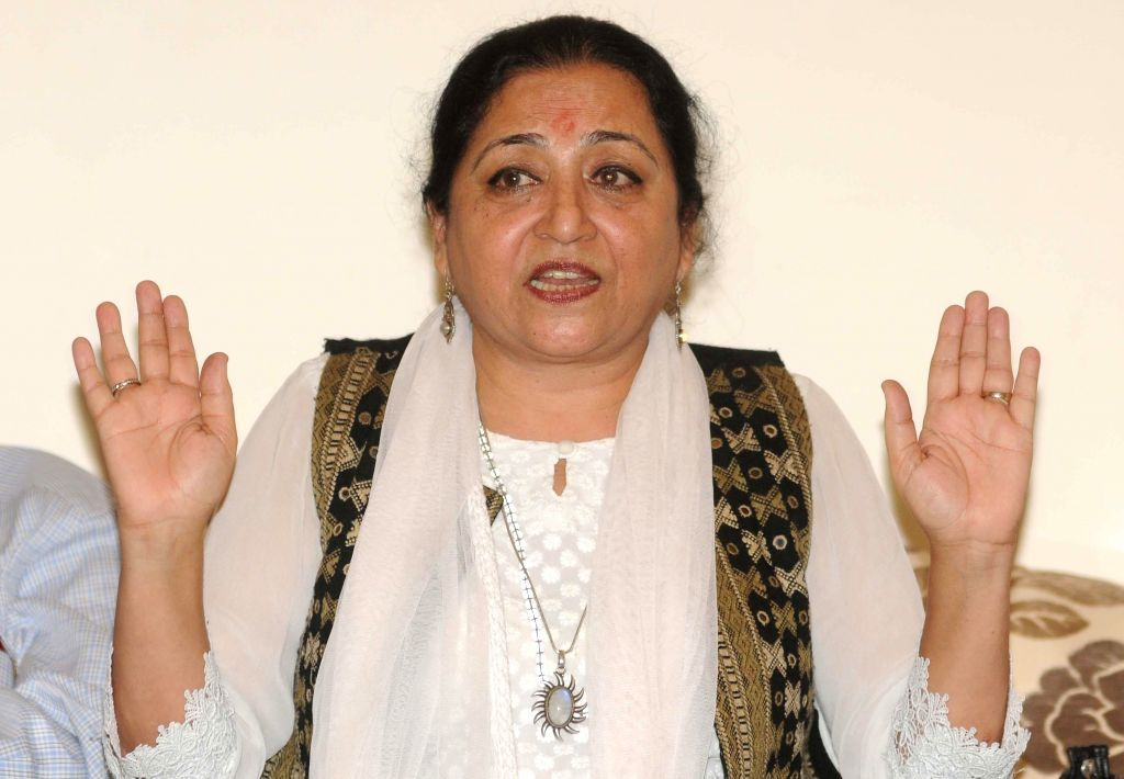 Academic-activist Madhu Kishwar during a press conference in New Delhi on July 16, 2014. (Photo: IANS)