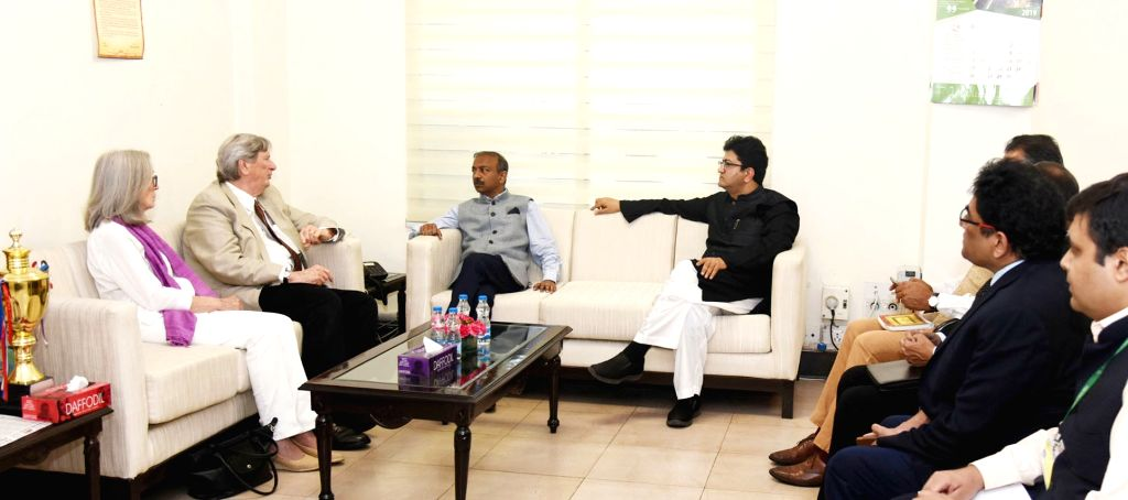 Academy of Motion Pictures Arts and Sciences President John Bailey meets Ministry of Information and Broadcasting Secretary Amit Khare, in New Delhi on May 28, 2019. Also seen Lyricist and ... - Prasoon Joshi