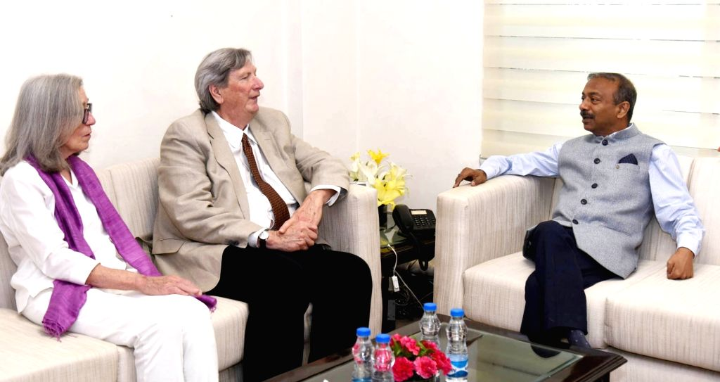 Academy of Motion Pictures Arts and Sciences President John Bailey meets Ministry of Information and Broadcasting Secretary Amit Khare, in New Delhi on May 28, 2019.