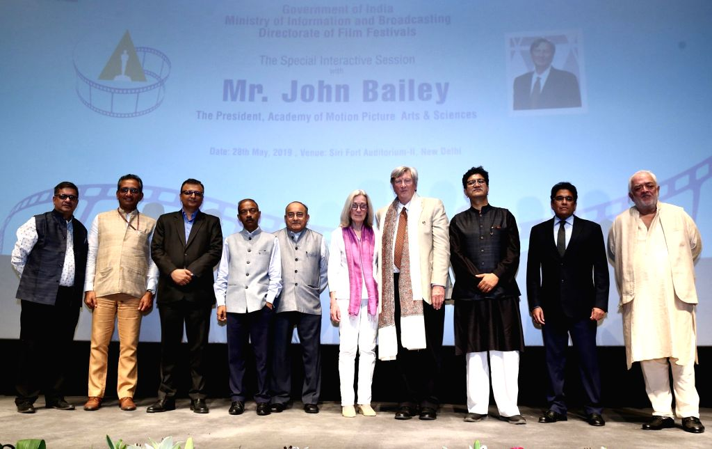 Academy of Motion Pictures Arts and Sciences President John Bailey, Ministry of Information and Broadcasting (I&B) Secretary Amit Khare and other dignitaries at a Special Interactive ...