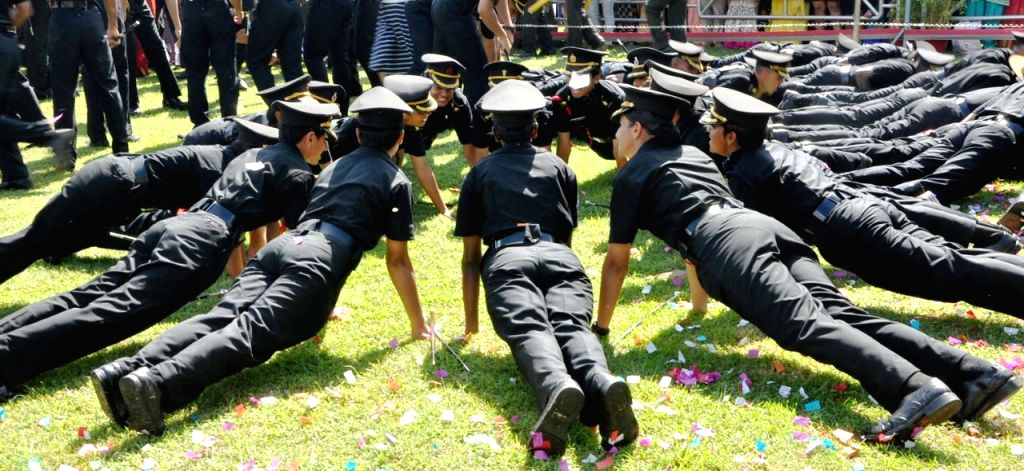 Academy Under Officers (AUO) during the Passing out Parade at Officers Training Academy in Chennai on Sept 9, 2017.