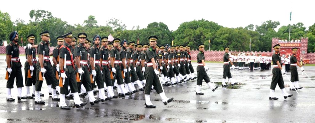 Academy Under Officers (AUO) march during the Passing out Parade at Officers Training Academy in Chennai on Sept 9, 2017.