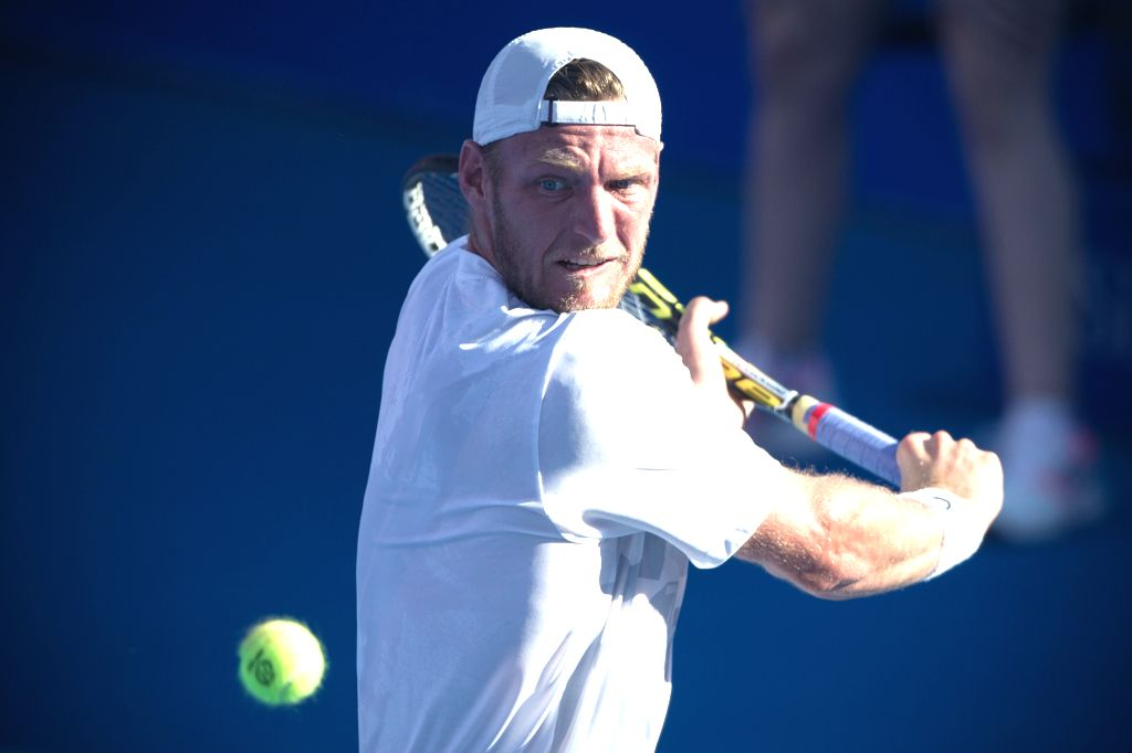 Australia's Sam Groth returns the ball during the men's single match against Ukraine's Alexandre Dolgopolov at the Abierto Mexicano Telcel tennis tournament in ...
