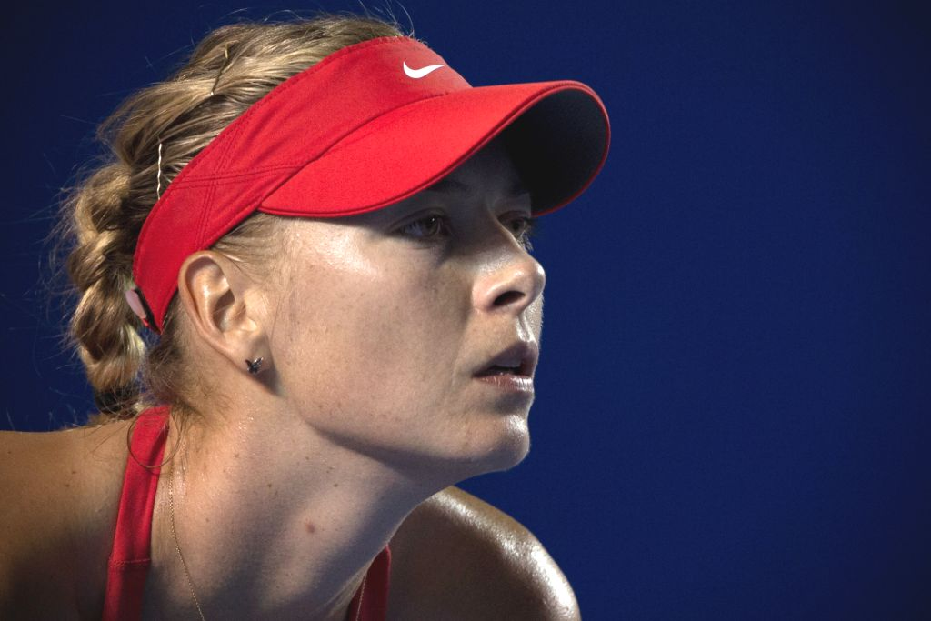 Russia's Maria Sharapova reacts during the women's single match against Slovakia's Magdalena Rybarikova at the Abierto Mexicano Telcel tennis tournament in ...