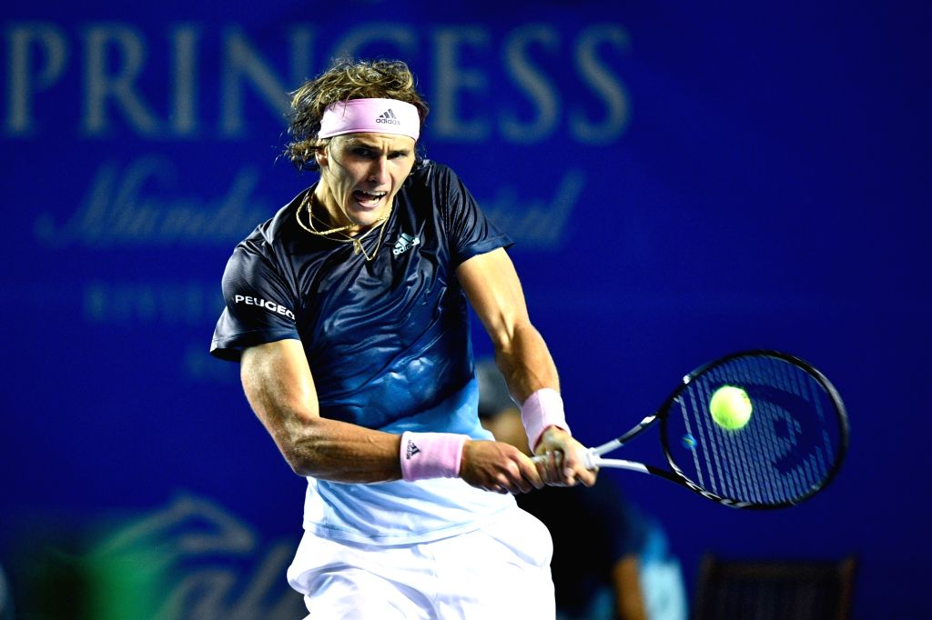 ACAPULCO, Feb. 27, 2019 - Alexander Zverev of Germany hits a return during the men's singles first round match between Alexander Zverev of Germany and Alexei Popyrin of Australia at the 2019 Mexican ...