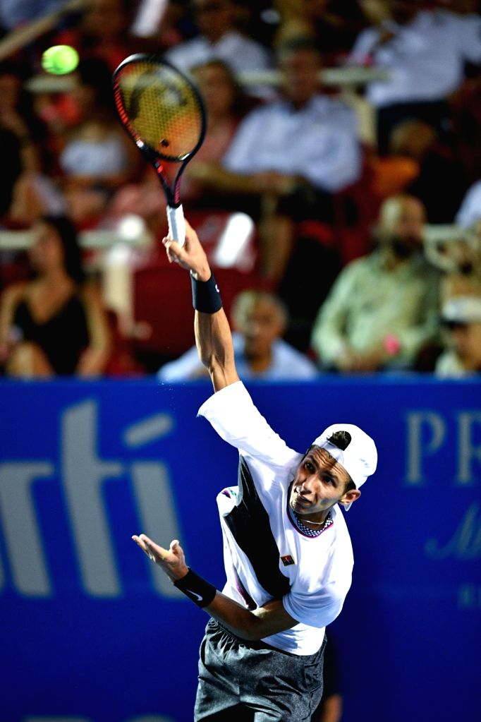 ACAPULCO, Feb. 27, 2019 - Alexei Popyrin of Australia serves during the men's singles first round match between Alexander Zverev of Germany and Alexei Popyrin of Australia at the 2019 Mexican Open ...