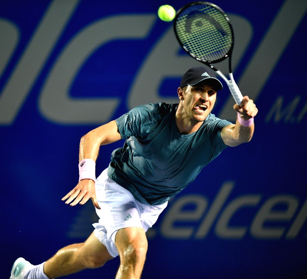 ACAPULCO, Feb. 27, 2019 - Mischa Zverev of Germany hits a return during the men's singles first round match between Rafael Nadal of Spain and Mischa Zverev of Germany at the 2019 Mexican Open tennis ...