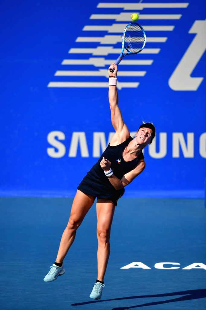 ACAPULCO, Feb. 27, 2019 - Pauline Parmentier of France serves during the women's singles first round match between Sloane Stephens of the United States and Pauline Parmentier of France at the 2019 ...