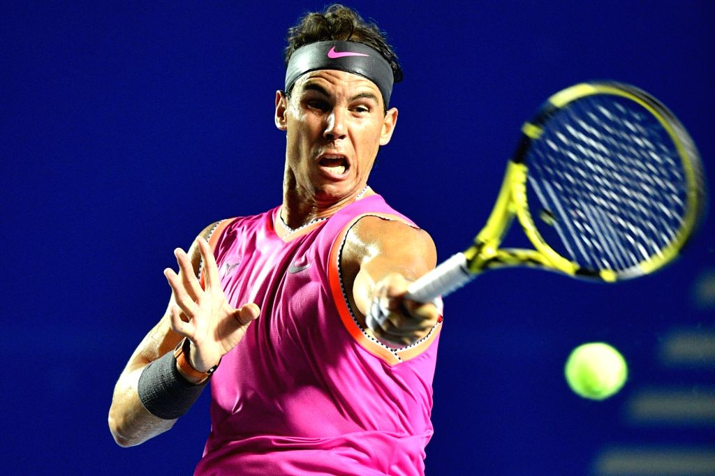ACAPULCO, Feb. 27, 2019 (Xinhua) -- Rafael Nadal of Spain hits a return during the men's singles first round match between Rafael Nadal of Spain and Mischa Zverev of Germany at the 2019 Mexican Open tennis tournament in Acapulco, Mexico, on Feb. 26,