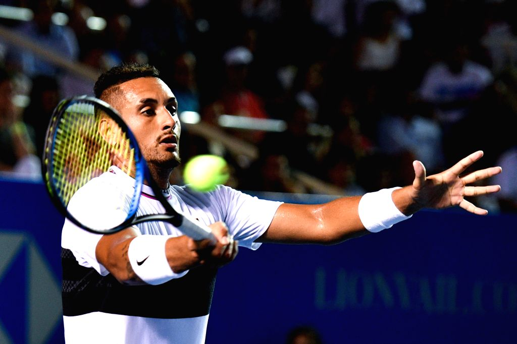 ACAPULCO, March 3, 2019 - Nick Kyrgios of Australia hits a return during the men's singles final match between Nick Kyrgios of Australia and Alexander Zverev of Germany at the 2019 ATP Mexican Open ...