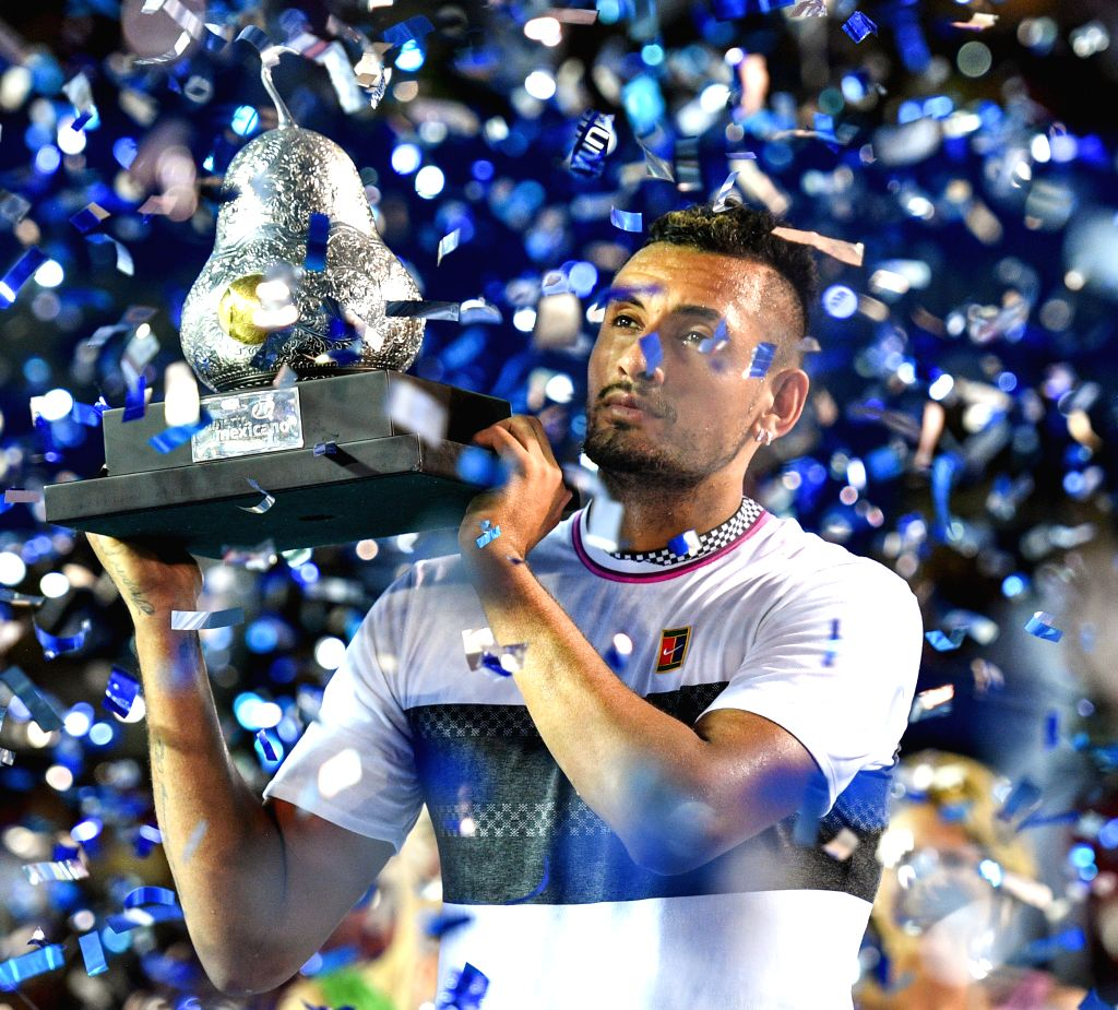 ACAPULCO, March 3, 2019 - Nick Kyrgios of Australia poses with his trophy during the awarding ceremony of the men's singles event at the 2019 ATP Mexican Open tennis tournament in Acapulco, Mexico, ...