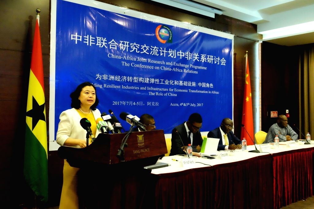 ACCRA, July 4, 2017 - Chinese Ambassador to Ghana Sun Baohong delivers a speech at a conference on China-Africa relations in Accra, capital of Ghana, on July 4, 2017. China will not be a proselytizer ...