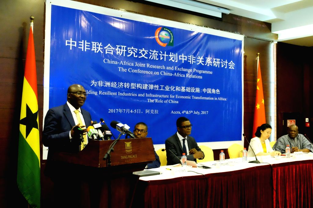 ACCRA, July 4, 2017 - Ghanaian Vice President Mahamudu Bawumia delivers a speech at a conference on China-Africa relations in Accra, capital of Ghana, on July 4, 2017. China will not be a ...