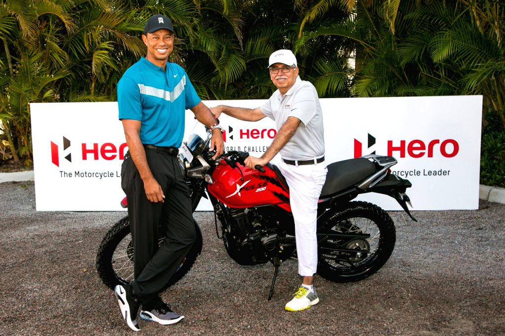 Ace golfer Tiger Woods and Hero MotoCorp Chairman Pawan Munjal ahead of the Hero World Challenge 2019 at Albany Championship Course in the Bahamas on Dec 2, 2019.