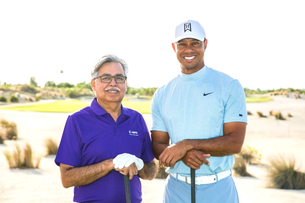 Ace golfer Tiger Woods and Hero MotoCorp Chairman Pawan Munjal during the Hero World Challenge 2019 at Albany Championship Course in the Bahamas on Dec 4, 2019.