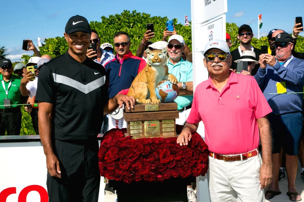 Ace golfer Tiger Woods and Hero MotoCorp Chairman Pawan Munjal during the Hero World Challenge 2019 at Albany Championship Course in the Bahamas on Dec 5, 2019.