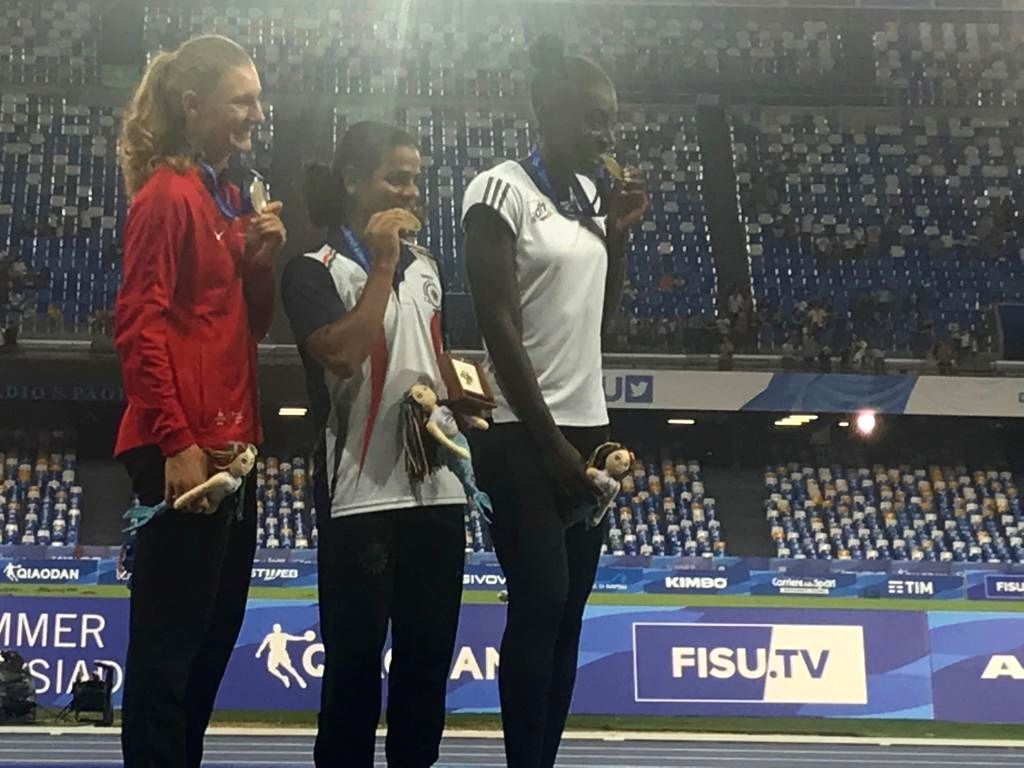 Ace Indian sprinter Dutee Chand has won the gold medal in women's 100-metre sprint at the 30th Summer University Games in Naples. (Photo: Twitter/@DuteeChand)