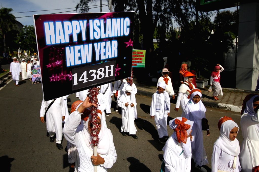 ACEH, Oct. 2, 2016 - Children take part in an Islamic New Year celebration in Aceh, Indonesia, Oct. 2, 2016. Various events were held to celebrate the Islamic New Year, the first day of the holy ...