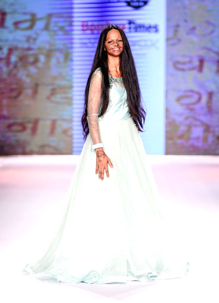 Acid attack survivor and social activist Lakshmi Agarwal on the second day of Bombay Times Fashion Week 2018, in Mumbai on March 31, 2018.