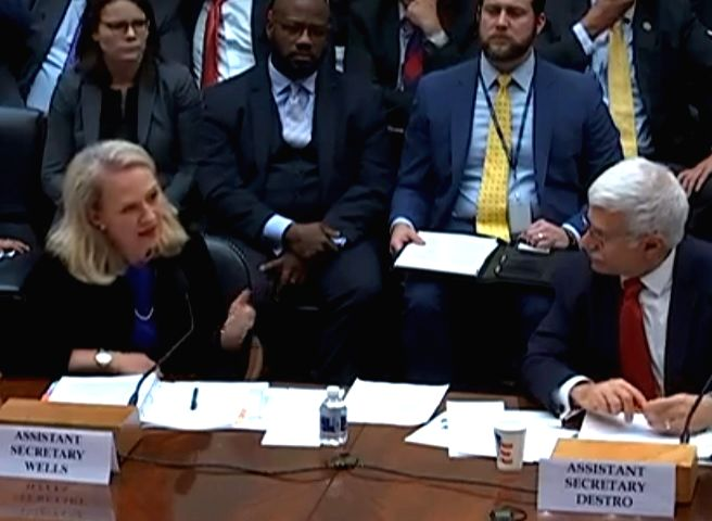 Acting Assistant Secretary of State for South Asia Alice Wells, left, and Assistant Secretary of State for Human Rights Robert Destro speak at a hearing on human rights in South Asia held by the House of Representatives Subcommittee on Asia and the P