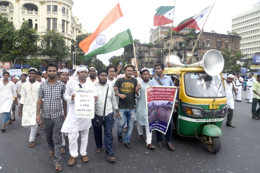 Activists from various Muslim organisations stage a demonstration in support of Rohingya muslims in Kolkata on Sept 11, 2017.