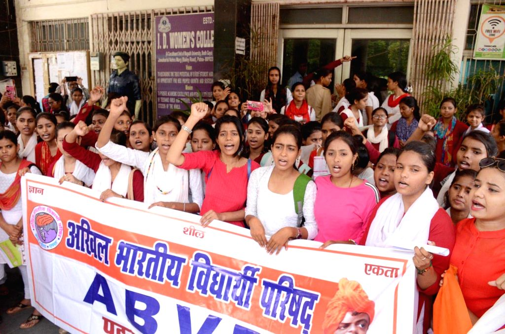 Activists of Akhil Bharatiya Vidyarthi Parishad (ABVP) stage a demonstration against a hike in admission fees, in Patna on Aug 29, 2019.