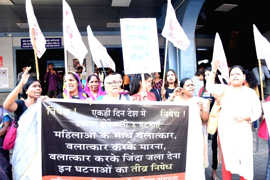 Activists of Akhil Bhartiya Janwadi Mahila Sanghatana stage a demonstration against the gruesome gang rape and murder of a woman veterinarian in Hyderabad; in Mumbai on Dec 3, 2019.