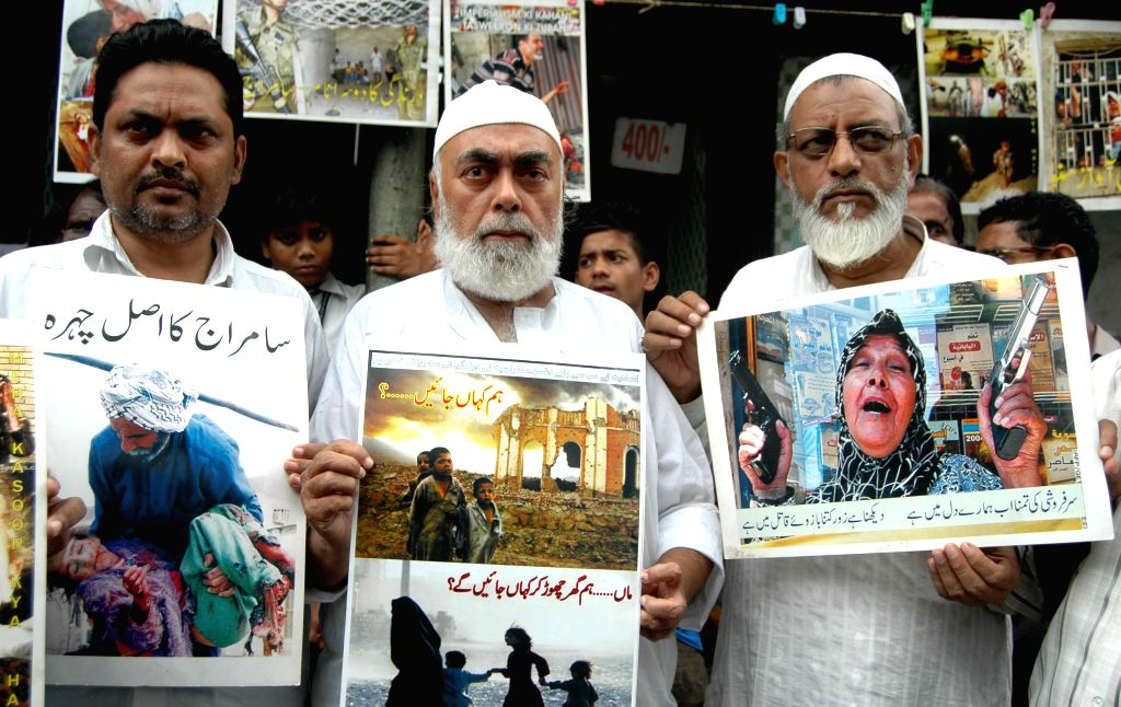 Activists of All India Anti-Imperialist Forum demonstrate against Israeli attacks on Gaza in Kolkata on July 16, 2014.