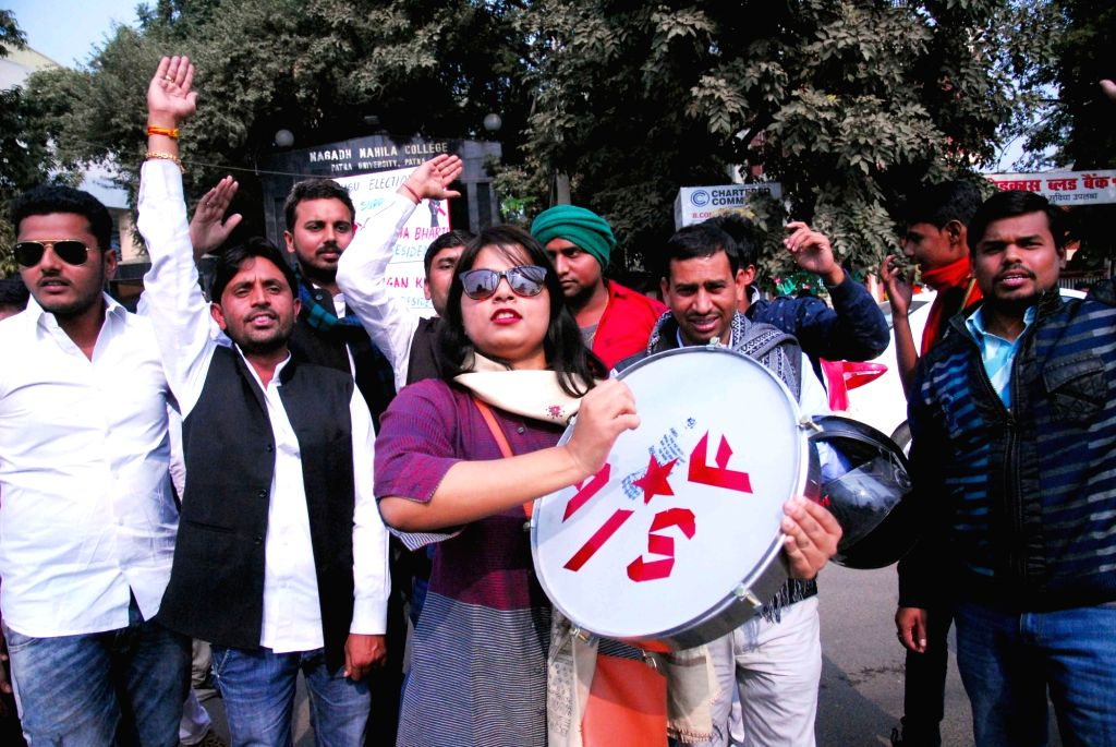 Activists of All India Students Federation (AISF) participate in an awareness rally organised on the occasion of World AIDS Day in Patna, on Dec 1, 2018.