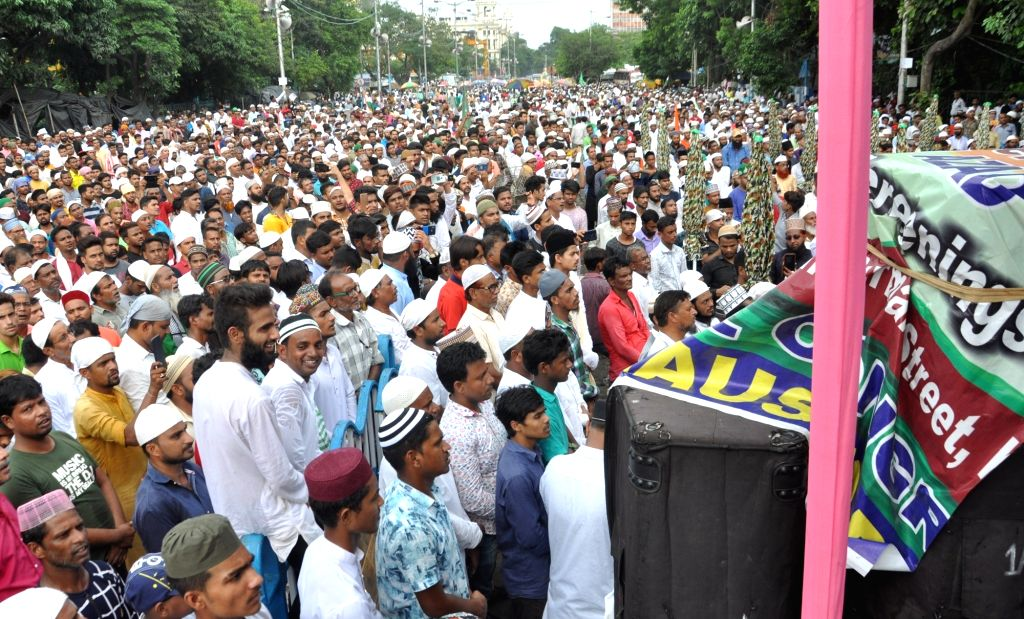 Activists of Majlis E Ulama E Islam participate in a rally to protest against mob lynchings, in Kolkata on July 27, 2019.