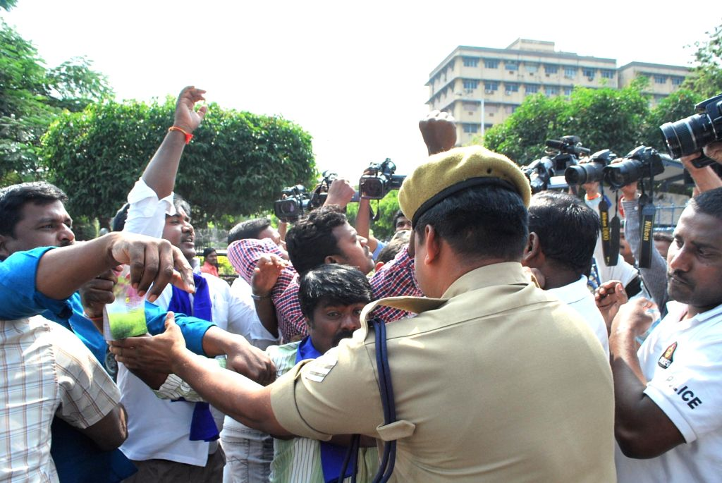 Activists of Malamanadu courting arrest in protest against the arrest of former minister Shanker Rao on Feb. 1. - Shanker Rao