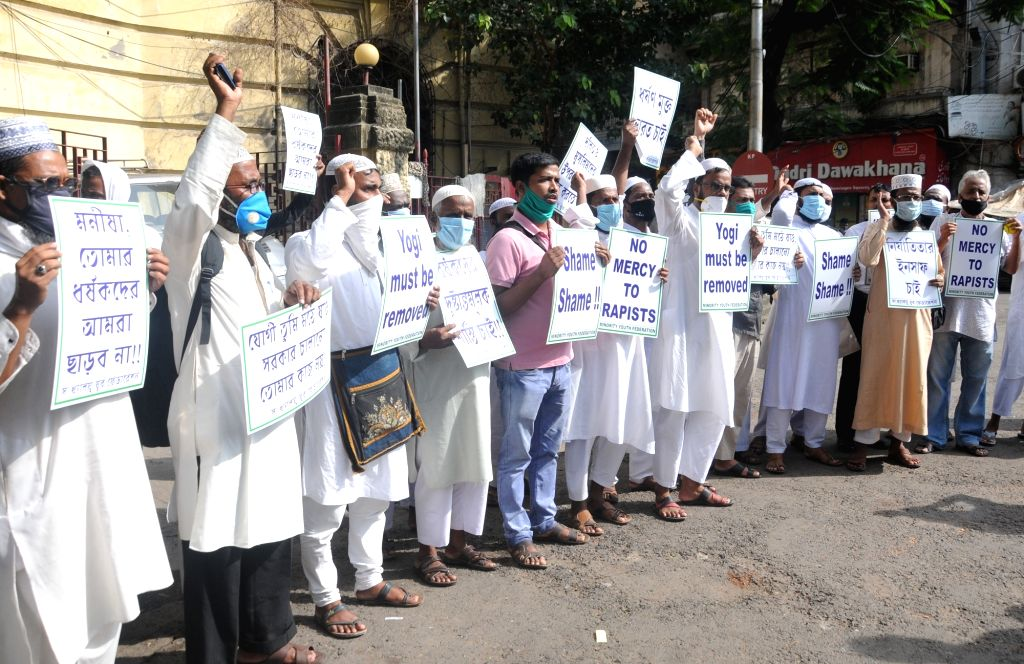 Activists of Minority Youth Federation protest against the Central Government over the alleged gang rape & murder of a 19-year-old Dalit girl in Uttar Pradesh's Hathras among other ...
