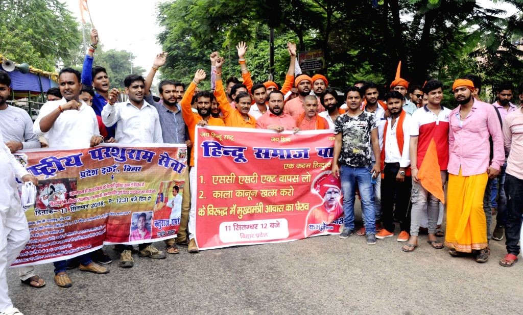 Activists of Right-wing Hindu outfit stage a demonstration against the changes made in the Scheduled Castes and Scheduled Tribes (Prevention of Atrocities) Act, in Patna on Sept 11, 2018.