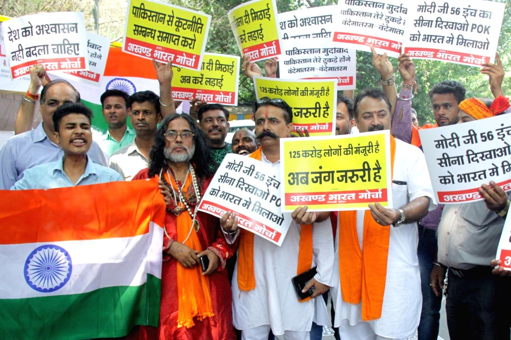 Activists of right-wing organisations stage a demonstration against terrorist attack on Uri army camp in Jammu and Kashmir; in New Delhi on Sept 19, 2016.