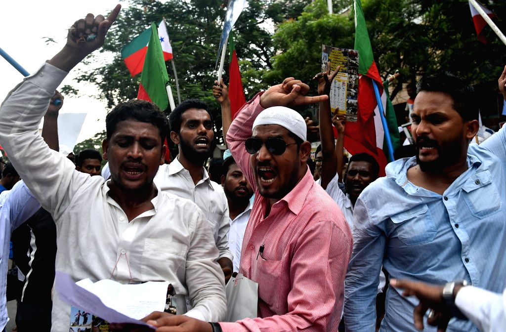 Activists of Social Democratic Party of India  demonstrate against Israeli attacks on Gaza in Chennai on Aug 8, 2014.