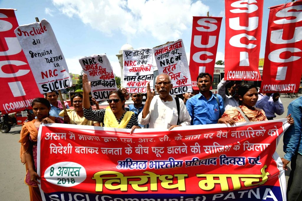 Activists of Socialist Unity Centre of India-Communist (SUCI-C) stage a demonstration against NRC in Assam; in Patna on Aug 8, 2018.