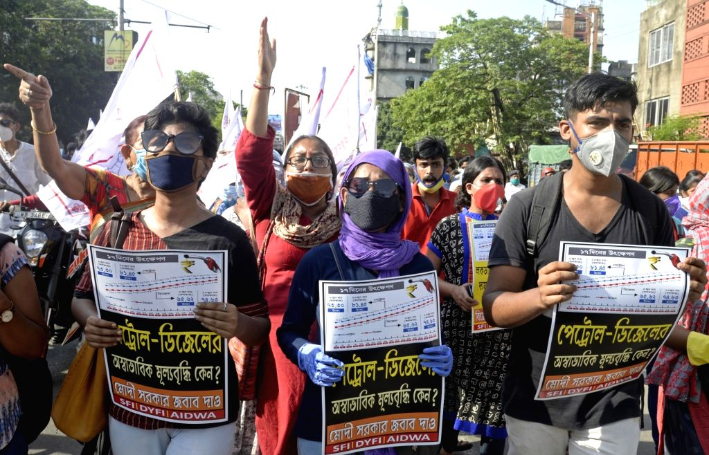Activists of Students Federation of India (SFI), Democratic Youth Federation of India (DYFI) and All India Democratic Women's Association (AIDWA) participate in a joint rally to protest ...