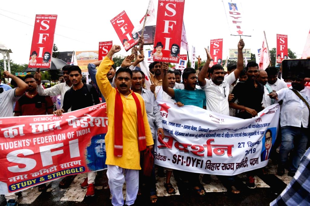Activists of Students' Federation of India (SFI) stage a demonstration to press for their various demands, in Patna on Sep 27, 2019.