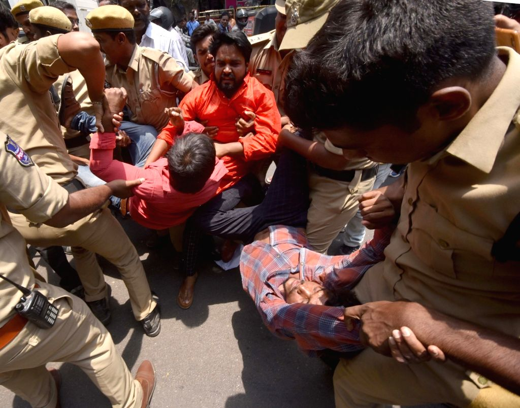 Activists of Telangana Parents Association (TGPA) staging a demonstration against the Telangana State Board of Intermediate Education (TSBIE) over the alleged fudging of results, being ...