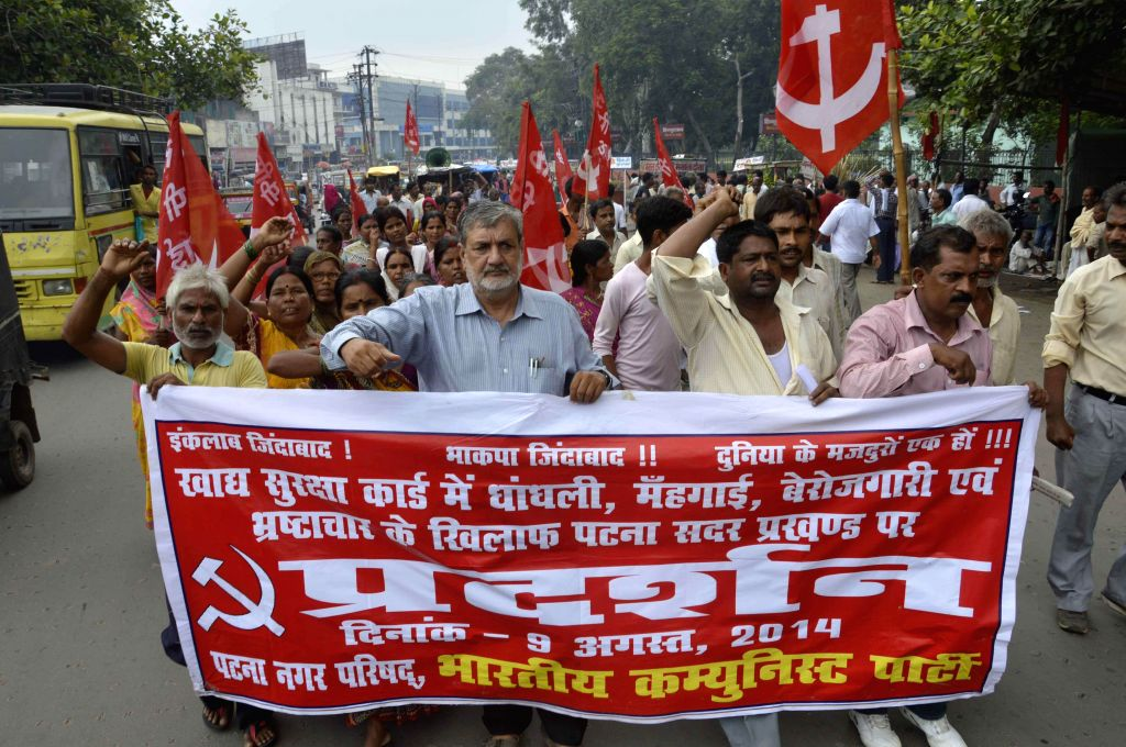 Activists of the CPI (ML) staged a demonstration against for their various demands in Patna on Aug. 9, 2014.