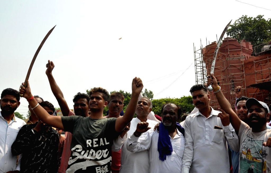 "Activists of Valmiki Samaj stage a demonstration against the Indian television show ""Ram Siya Ke Luv Kush"" in Amritsar on Sep 7, 2019."