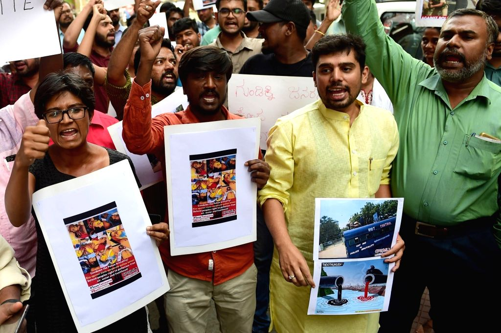 Activists stage a demonstration against the killing of protesters in police firing during anti-Sterlite protests in Thoothukudi of Tamil Nadu; in Bengaluru on May 24, 2018.