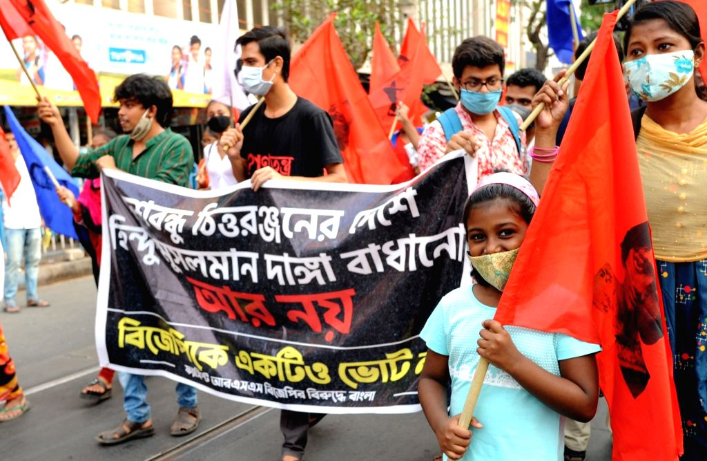 Activists took part in a protest rally against BJP and RSS ahead of the 5th phase State Assembly election in Kolkata on April 12, 2021.