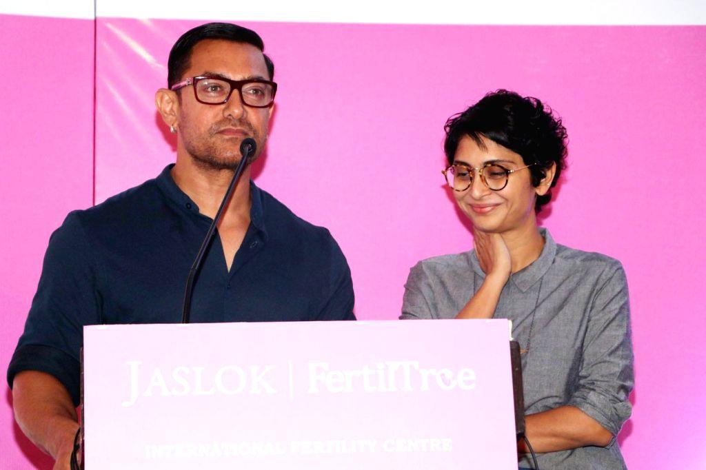 Actor Aamir Khan along with his wife Kiran Rao during the launch of Jaslok hospital's new wing Jaslok Fertility Tree, in Mumbai, on Aug 15, 2016. - Aamir Khan and Kiran Rao
